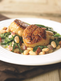 scallop spinach and bean