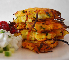 cauliflower sweet potato pancakes