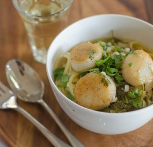 scallop with lime and cilantro